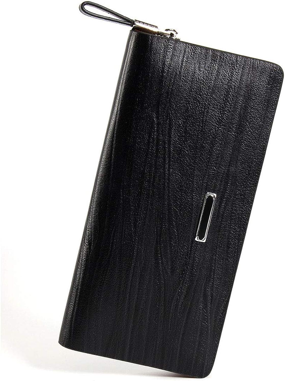 Ploekgda Herrenhandtasche Leder Casual Handtasche Leder Große Kapazität Lange Brieftasche (Farbe   braun) B07QLRHR67