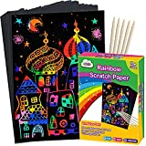 ZMLM Scratch Paper Art Set, Rainbow Magic Scratch Paper for Kids Black Scratch it Off Art Crafts Kits Notes Boards Sheet with 5 Wooden Stylus for Girl Boy Easter Party GameChristmas Birthday Gift