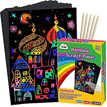 ZMLM Scratch Paper Art Set Rainbow Magic Scratch Paper for Kids Black Scratch it Off Art Crafts Kits Notes Boards Sheet with 5 Wooden Stylus for Girl Boy Easter Party GameChristmas Birthday Gift