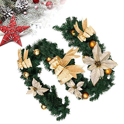 Cherry Juilt - Guirnalda de Navidad con Bayas y Pinchos para Decorar al Aire Libre o como decoración de Navidad