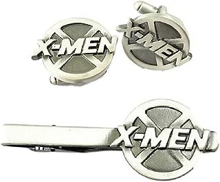 Marvel's X-MEN Logo Cosplay Novelty Metal Enamel Cuff Links & Tie Clip Set