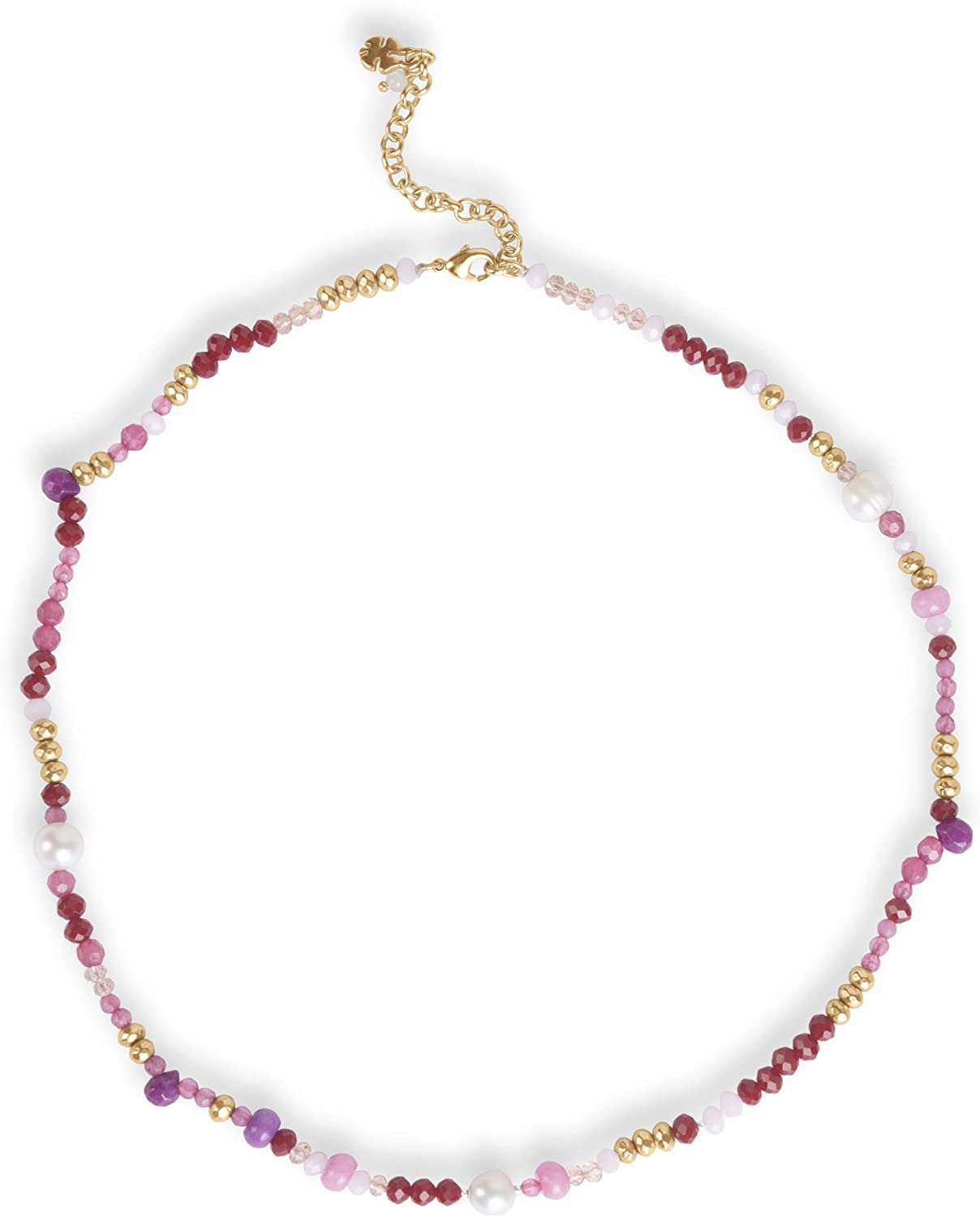 Lucky Brand Pink Multi Beaded Collar Necklace, Gold
