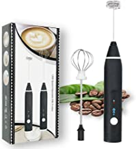 Rechargeable Foam Maker with Double Whisk, RIJAHO Upgraded 3 Speeds Frother Handheld for Milk Coffee, Latte, Matcha
