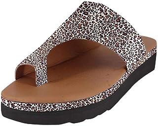 Sandalias para Mujer, diseño de Leopardo, Tobillo Plano, Tobillo Redondo, Bailarina, Zapatos de Playa, Sandalias de Tobillo