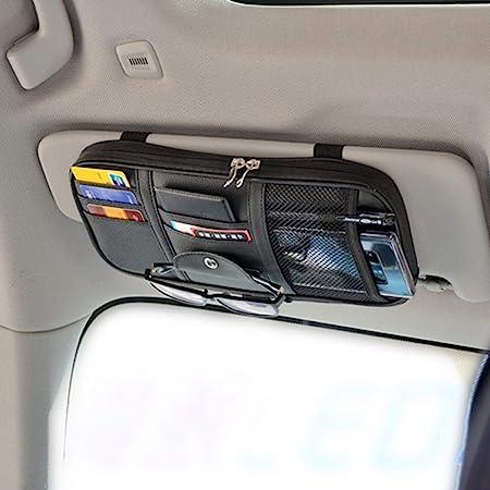 WYNEX Car Sun Visor Organizer SUV Registration Truck Auto-CD Holder Vehicle Sunglass Storage Pouch Interior 4 Credit Car Holder Accessories Document Car