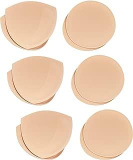 6 Pairs Bra Pads Bra Insert Cups Push-up Foam Bra (Beige 1, Triangle+Circle)
