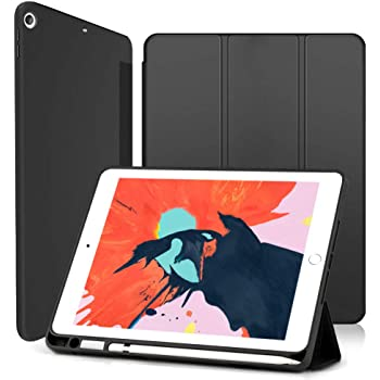 Wonzir 新しい iPad Air 10.5 ケース (2019モデル) Apple Pencil 収納可能 スタンド機能 iPad Air3 10.5 インチ (2019新型) 保護カバー 軽量 薄型 シンプル 三つ折タイプ 全面保護型 傷つけ防止 iPad air3 2019 手帳型 ケース PU 便利なペンホルダー付き (iPad Air3 10.5, ブラック)