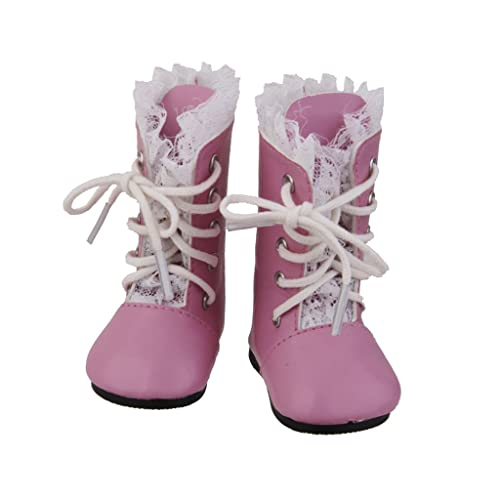 MagiDeal Chaussure Botte Lacet Vintage Mode Pour American Poupées Fille Dolls Rose
