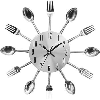 Reloj de Pared Cubiertos Cocina Tenedor Cuchillo Novedad Creativa Colgar Reloj Astilla Decorativa para el Moderno Club de Oficina en Casa: Amazon.es: Hogar