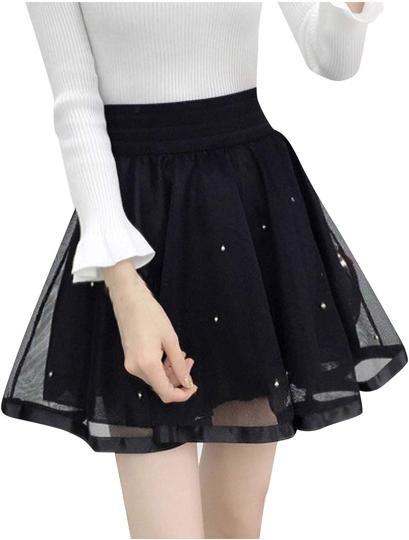 MAEES Women's Basic Skirt Versatile Stretchy A-line Flared Casual Mini Skater Skirt