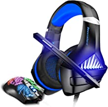 BENGOO GM-5 Stereo Gaming Headset for Xbox One, PS4, PC with Mouse (Blue)