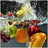 Wallario Magnet für Kühlschrank/Geschirrspüler, magnetisch haftende Folie - 60 x 60 cm, Motiv: Früchte im und unter Wasser - Splashing Fruits