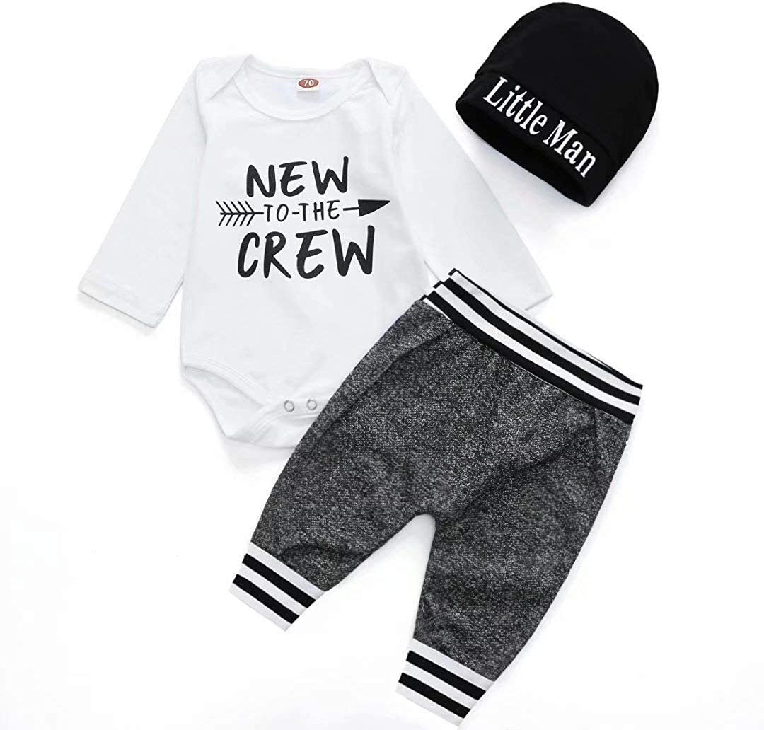 Baby Boy Clothes Infant Outfits New to The Crew Letter Print Bodysuit Long Sleeve Romper+ Pants+Hat 3PCS