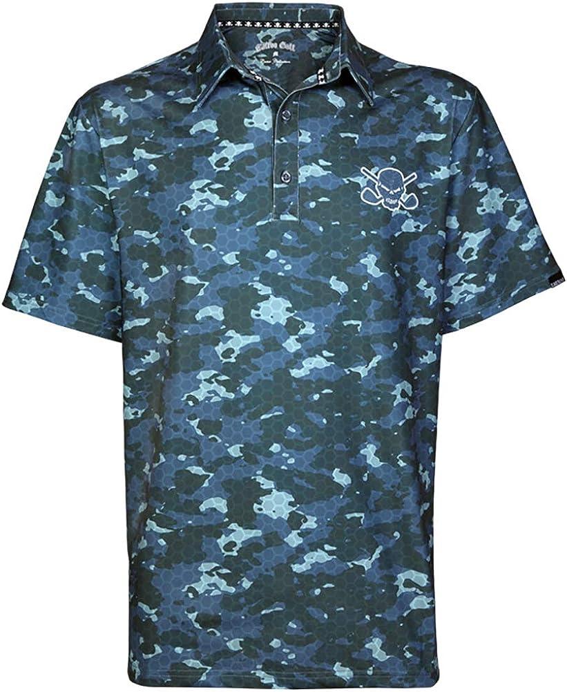 TattooGolf Honeycomb shop Camo outlet Cool-Stretch Grey Golf Shirt Red