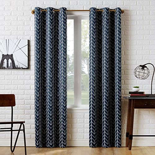 "Sun Zero Kenwood Chevron Blackout Grommet Curtain Panel, 40"" x 63"", Navy Blue"