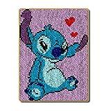 Lee My Kits de Gancho de Cierre Alfombra Bordado Punto Kit para cojín de Ganchillo de Alfombra, diseño de Dibujos Animados,Blue Dog,52x38cm/20x15 Inch