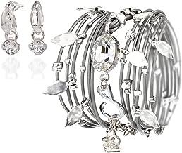 Leather Wrap Bracelet Turn into Necklace, Swarovski Crystal Silver 925 Plated Handmade by SEA-Smadar