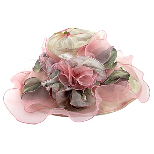 eac032ba788 Harmony Life Women Foldable Organza Church Derby Hat Ruffles Wide Brim