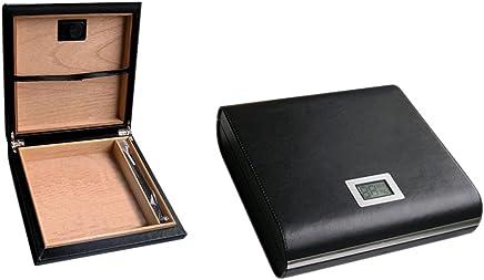 Prestige Import Group 20 支装黑色皮革旅行雪茄盒,含外部数字湿度表