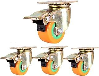 4 wielen met remmen 50mm draaibare rubberen wielen wiel 5,1 cm stille meubels Caster laadvermogen 300kg oranje