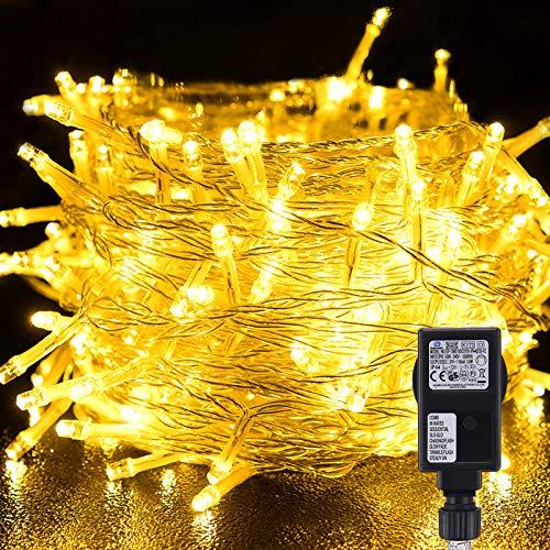 VOKSUN Guirnalda Luces, 25 Metros/82 Pies Luces de Navidad Exterior y Interior IP44 Impermeable con 8 Modos de Luz, 200 LED Luces Decorativas Luces de Hadas para Navidad Fiesta Jardín Balcón Casa