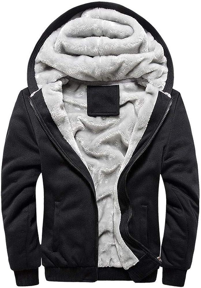 Men's Hoodies Pullover Clearance, F_Gotal Mens Casual Long Sleeve Zipper Warm Fleece Sports Outwear Hooded Sweatshirts