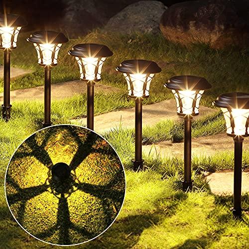 6 grandes luces solares impermeables al aire libre, iluminación solar, farolas de jardín de vidrio de acero inoxidable negro, césped de 20 lúmenes