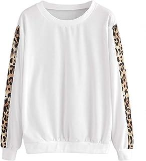 SweatyRocks Women's Contrast Leopard Print Sleeve Round Neck Long Sleeve Sweatshirt Casual Pullover Tops Blouse