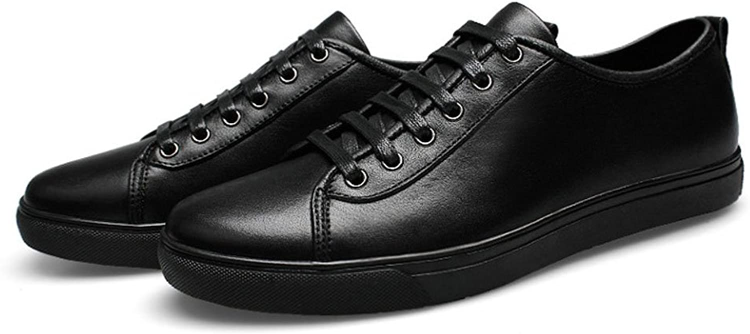 Men's shoes Leather Sneakers Spring Fall Winter Comfort Lace-up Fashion Casual shoes Mens Low Top Running shoes Walking shoes (color   Black, Size   37)