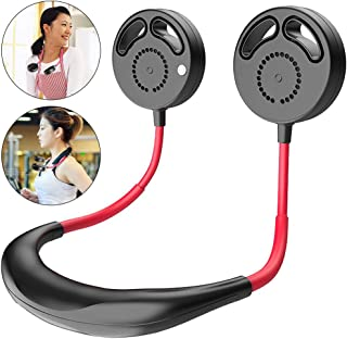 Dewanxin Ventilador Personal Portátil Mini USB,Ventilador con Doble Cabeza Giratorio de 360°, 3 velocidades 2000 mAH,Batería Recargable Ventilador de Banda para el Cuello Ventilador de Refrigeración