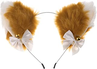 Minkissy Katt öron pannband plysch pälsiga djur varg katt hund öron pannband hårband med rosett klocka anime cosplay kosty...