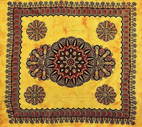 Telo Arredo Copritutto Grande Crochet 210x230 cm 100% Cotone Indiano Stampato Copri divano Gran foulard con Frange (Giallo)