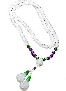 Yigedan Natural White Jade Magnolia Pendant Beads Handmade Knit Women Necklace
