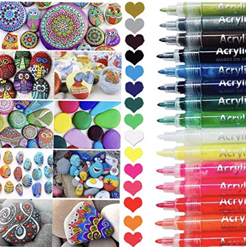 Acrylfarben-Stifte-Set, 15 Acrylstifte, Wasserbasis, Ungiftig, Schnell Trocknend, Geeignet für Steinmalerei, Porzellan, Glas, Kiesel, Stoff, Leinwand, Bastelprojekte etc (15PCS)
