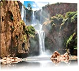 Spektakulärer Wasserfall Format: 100x70 auf Leinwand, XXL riesige Bilder fertig gerahmt mit Keilrahmen, Kunstdruck auf Wandbild mit Rahmen, günstiger als Gemälde oder Ölbild, kein Poster oder Plakat
