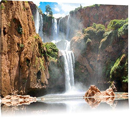 Spektakulärer Wasserfall Format: 120x80 auf Leinwand, XXL riesige Bilder fertig gerahmt mit Keilrahmen, Kunstdruck auf Wandbild mit Rahmen, günstiger als Gemälde oder Ölbild, kein Poster oder Plakat