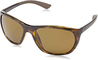 RAY-BAN Men's RB4307 Square Sunglasses, Havana/Polarized Brown, 61 mm