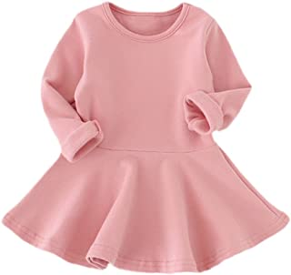 JIA&DI Baby Girls Solid Color Princess Dress Long Sleeves Dress for Autumn Winter