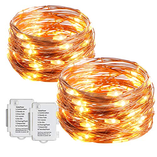 LED Lichterkette [2 Stk] Starker 5M Lichterkette Batterie mit 50 LEDs Wasserdicht Stimmungs Lichterkette Draht für Weihnachten, Festlich, Geburtstag, Hochzeiten, Party Dekoration [Energieklasse A+++]
