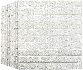 Fondo de Pantalla de la Pared del Fondo de la Sala de Estar del Dormitorio de los Paneles de Pared 3D del ladrillo Blanco para la decoración de la Pared y del palillo (Tamaño : 10 Pack)