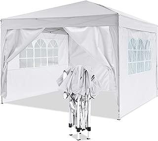 YUEBO Pavillon 3x3, Wasserdicht Faltbare Gartenpavillon Festival Sonnenschutz Faltpavillon mit 4 Seitenteilen und Tragetasche (Weiß#)