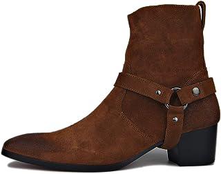 Suetar Men's Vintage Rock Style Block Heel Point Toe Leather Cowboy Boots LB002