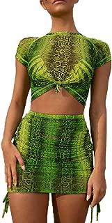Women Snakeskin Mesh Cover Up Crop Top Lace Up Skirt Set 2 Piece Dress
