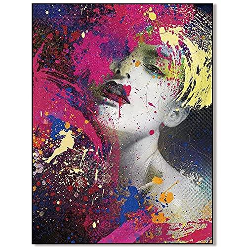 SEAAQ para La Decoración del Dormitorio Póster Abstracto Moderno Pintura Colorida Rosa Acuarela Rojo Chica Sexy Retrato Ilustración - Sin Marco,50x75 cm