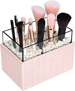 JackCubeDesign Makeup Brush Holder with Pink Pearls and Acrylic (Pink, 3.7 x 5.7 x 4.3 inches)-:MK283B