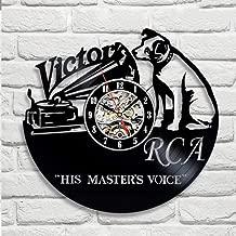 No murale Victor RCA Vinyl Disc Clock Clock DogDecoración de la Pared Vintage Creative Hanging Art Relojes(30cm.12)