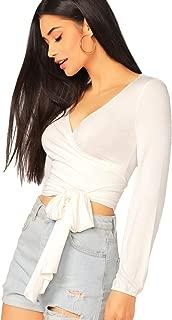 Women's Deep V Neck Knot Front Long Sleeve Wrap Crop Top Tee T-Shirt