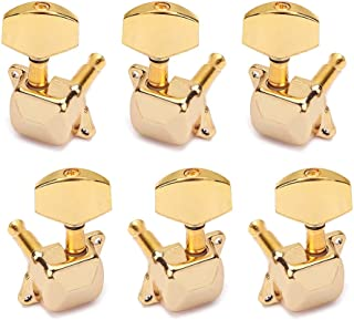 Healifty 6PCS Semiclosed String Tuning Pegs Keys Buttons Guitar Tuner Machine Heads Gold Plated for Acoustic Electic Guitar Bass 3L3R (Golden)