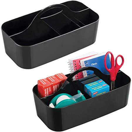 mDesign Set of 2 Desk Organiser – Office Accessories for Productivity – Plastic Storage Container with Handle for Storing Pens, Markers, Scissors and More – Black