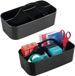 mDesign boîte de Rangement avec poignée (Lot de 2) – Rangement pour Bureau et Papeterie en Plastique – Organiseur de Burea...